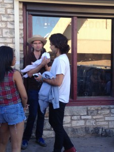 Adrian Grenier chatting with the crowd on South Congress.