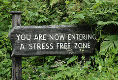 Stress free zone sign. Credit Flickr - thornypup: https://flic.kr/p/2emXS4