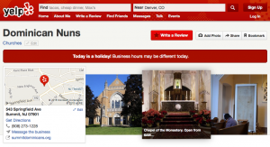 The Dominican Nuns of Summit have a great social media network, including a presence on Yelp!
