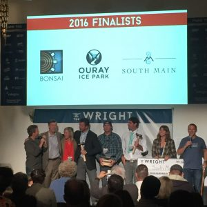 The 2016 Wright finalists on stage with Governor Hickenlooper