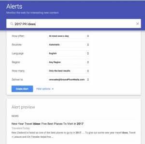 Google Alerts - 2017 PR Ideas For Media Coverage
