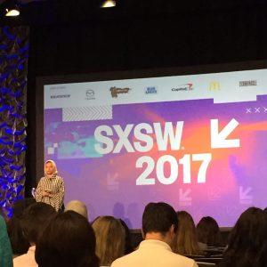 Noor Tagouri speaking at SXSWi 2017