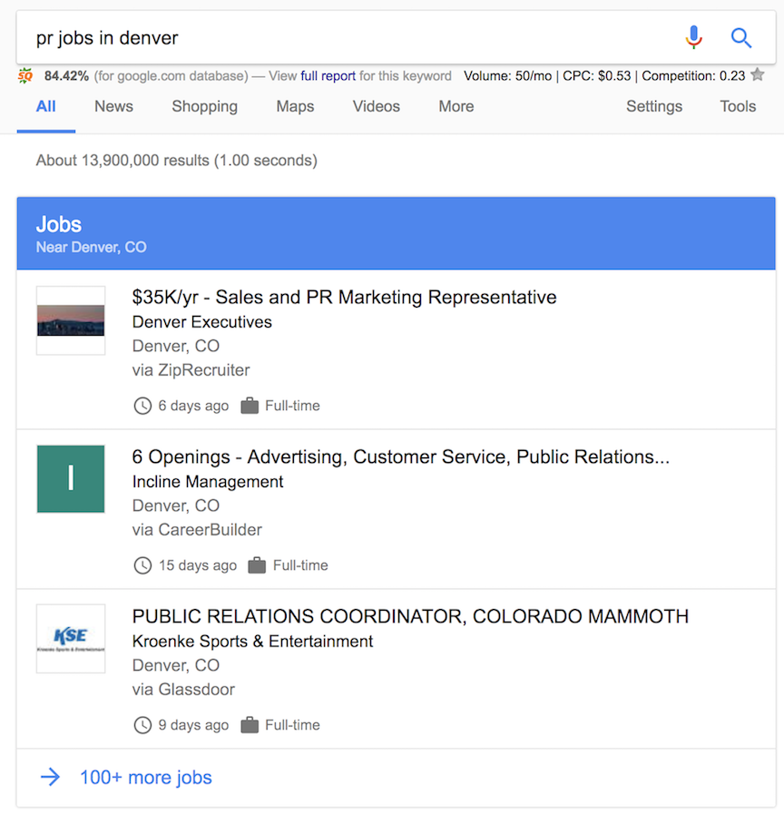 Google Search Results Job Listings | CenterTable Digital Agency