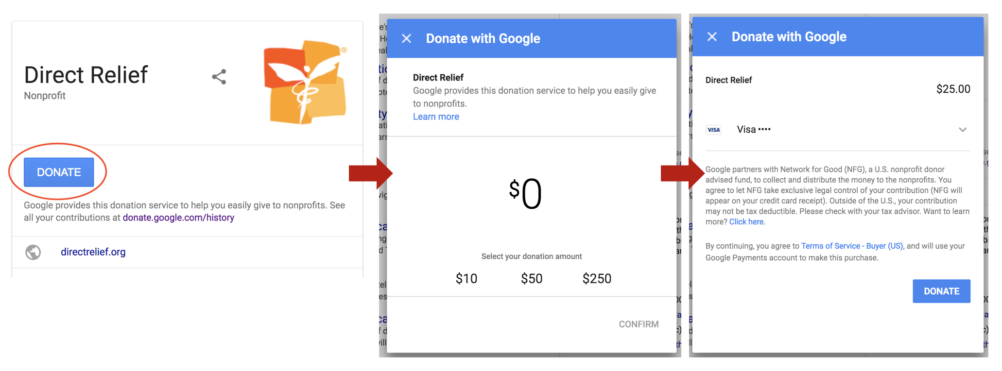 How To Donate Online Using Google Search Engine Results Page Donate Button | CenterTable Digital Agency
