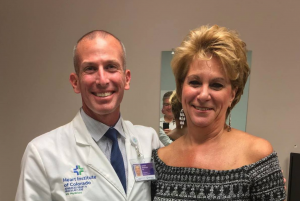 Patti Martin, right, with her SCL Health Medical Group heart surgeon Jason Shofnos. (Photo: Patti Martin)