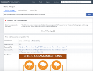 Facebook Link Preview for GroundFloor Media PR Agency Facebook Post on Crisis Response via Facebook Sharing Debugger