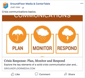 Facebook Link Preview for GroundFloor Media PR Agency Facebook Post on Crisis Response