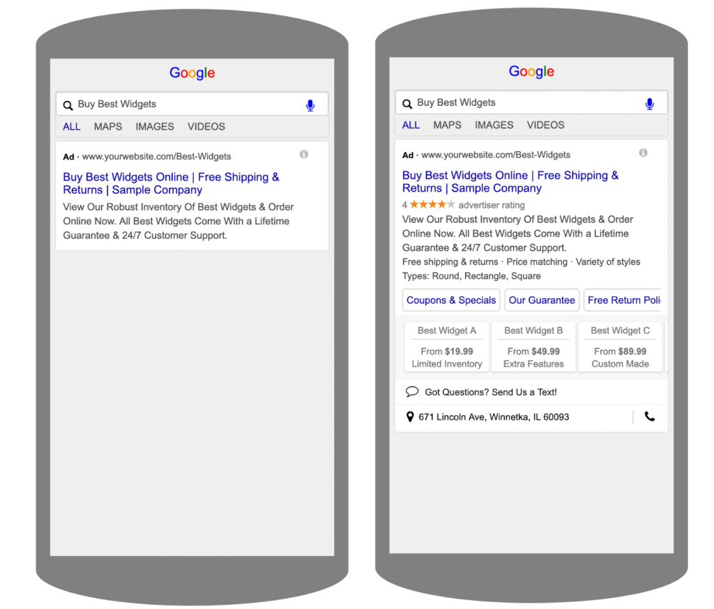 Comparison of a Google Ad without Ad Extensions to an Ad with Ad Extensions | CenterTable Digital Agency Denver