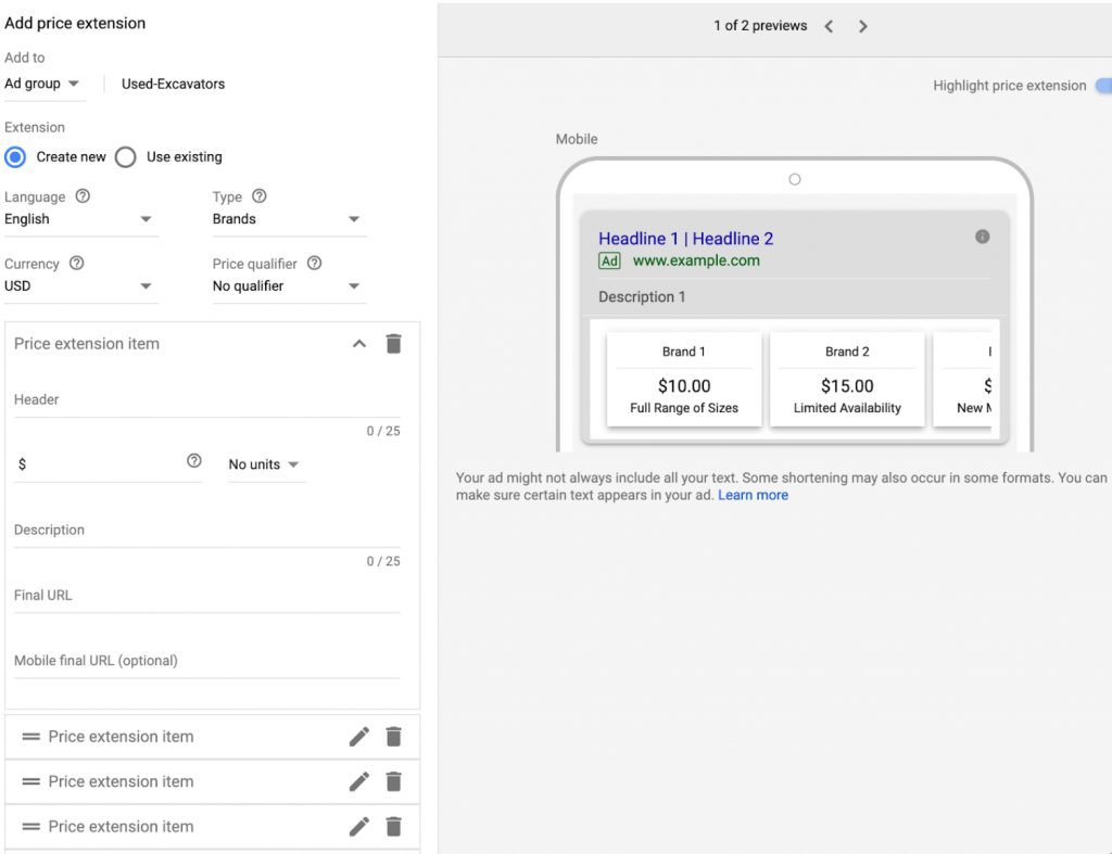 How To Create Price Extensions Google Ad Extensions