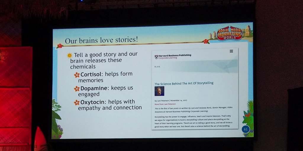 social media marketing is storytelling. Our brains love stories.